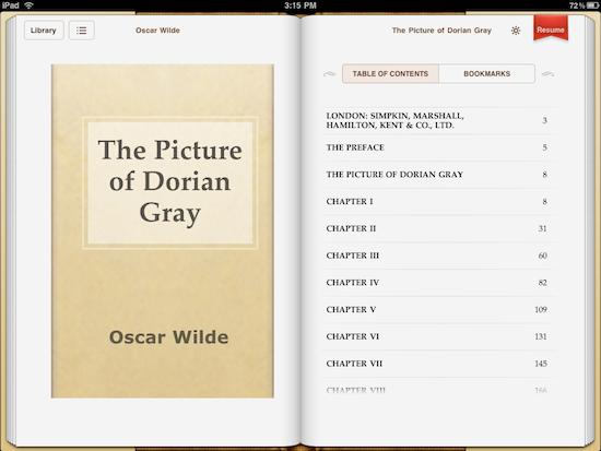 iBooksin jäljellä olevian sivujen määrä ei hupene, vaikka kuinka lukisi. Sisällysluettelo näyttää paperisivulta, mutta sitä selataan vierittämällä.