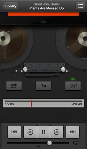 Applen Podcast-sovelluksee on toteutettu puhtaaksi koristeeksi animoitu kelanauhuri. Nauhuri muun muassa pyörii nopeammin, kun äänitettä pikakelataan.