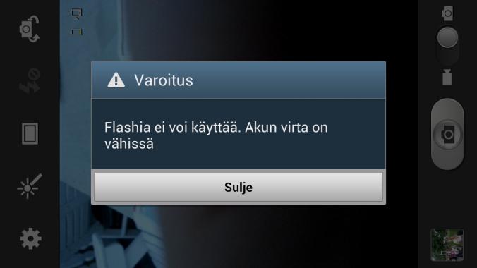 Flashiä ei voi käyttää