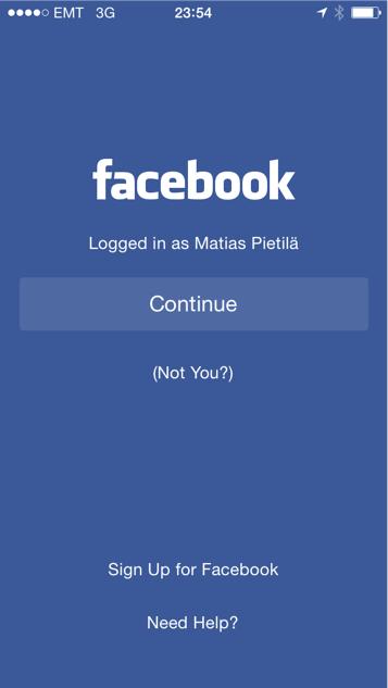 Facebook muistaa edellisen käyttäjä ja pyytää ainoastaan kirjoittamaan salasanan.